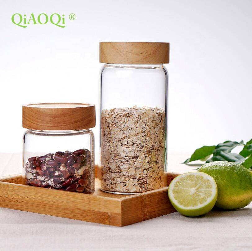 QiAOQi Kitchen Sealed Small Glass Storage Jar For Jam Honey With Wooden Lid