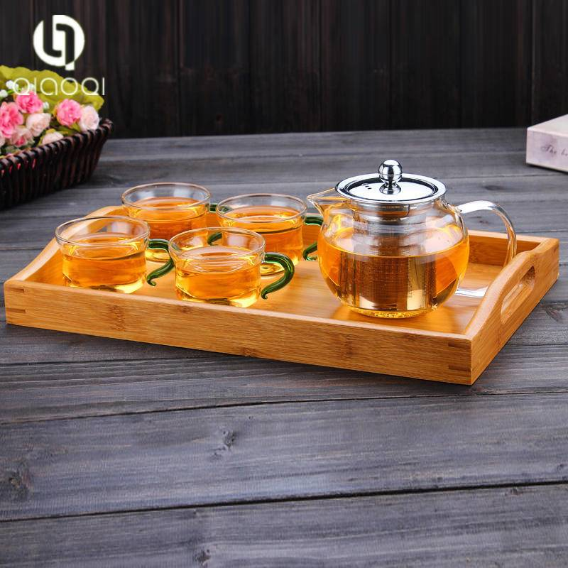 borosilicate teapot glass tea set with 4pcs glass cup.