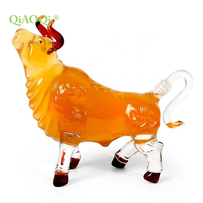 1000ml Cow Animal Shape Hand Made Glass Bottle for wine