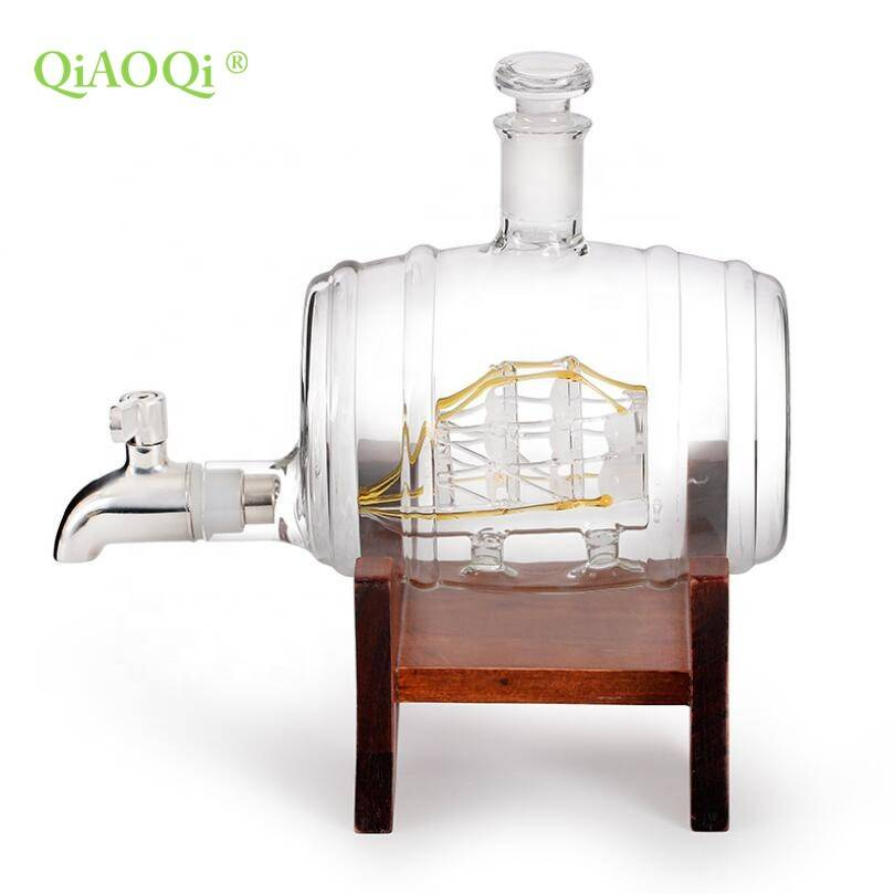 QiAOQi Wooden frame barrel shaped 1000ml glass wine bottle with faucet