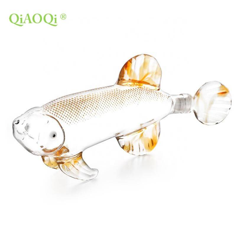 QiAOQi Fish shaped 500ml glass wine bottle decanter