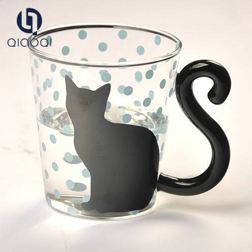 hand made heat resist cat shape glass cup