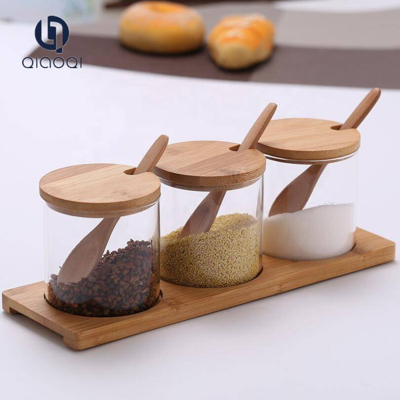 kitchen use spice storage airtight glass jars with spoon