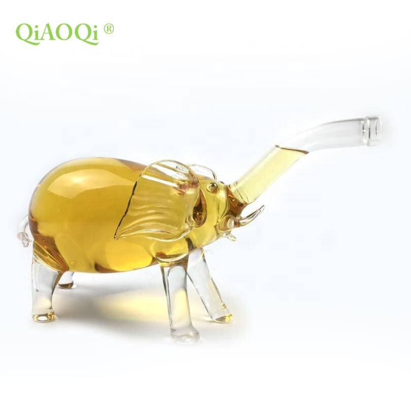 QiAOQi 500ml Elephant shape glass spirits bottle animal bottle and decanter for the wine and spirits