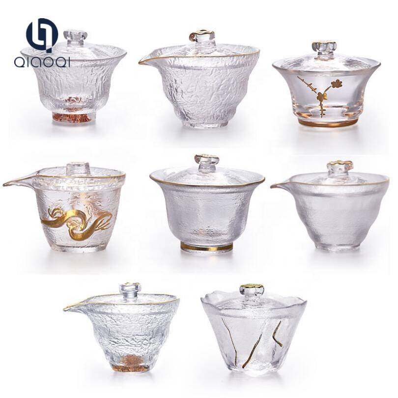 Kungfu Heat Resistant Clear Glass Tea Cup with Lid