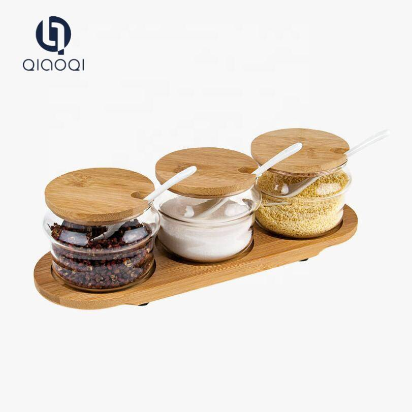 3 in 1 Spice Glass Jars with Wooden Lid and Spoon