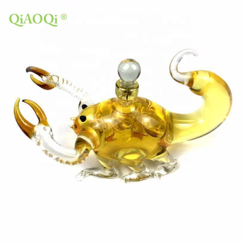QiAOQi  New Design Handmade Heat Resistant Borosilicate Glass Bottle Animal Shaped Glass Bottle Scorpion Shaped Glass Bottle