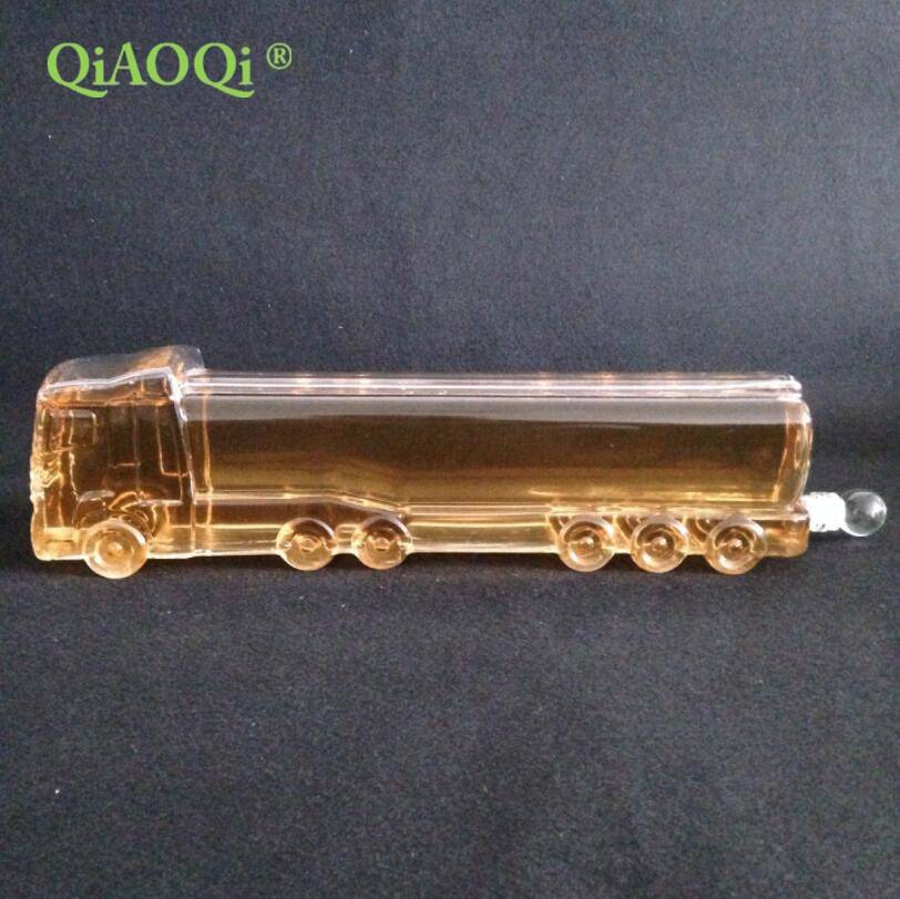 QiAOQi 1000ml truck shape handmade wine glass bottles