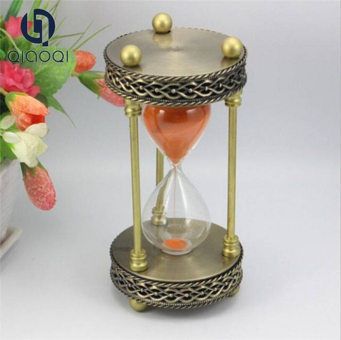 Antique brass color metal frame sand timer 1 hour hourglass for meeting