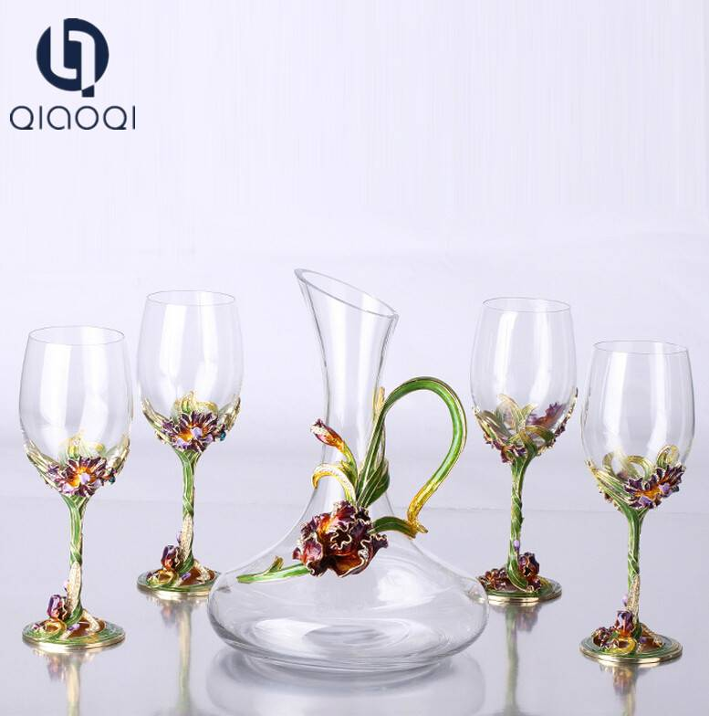 Red wine glasses suit gift box European style crystal wine handblown glass decanters on sale
