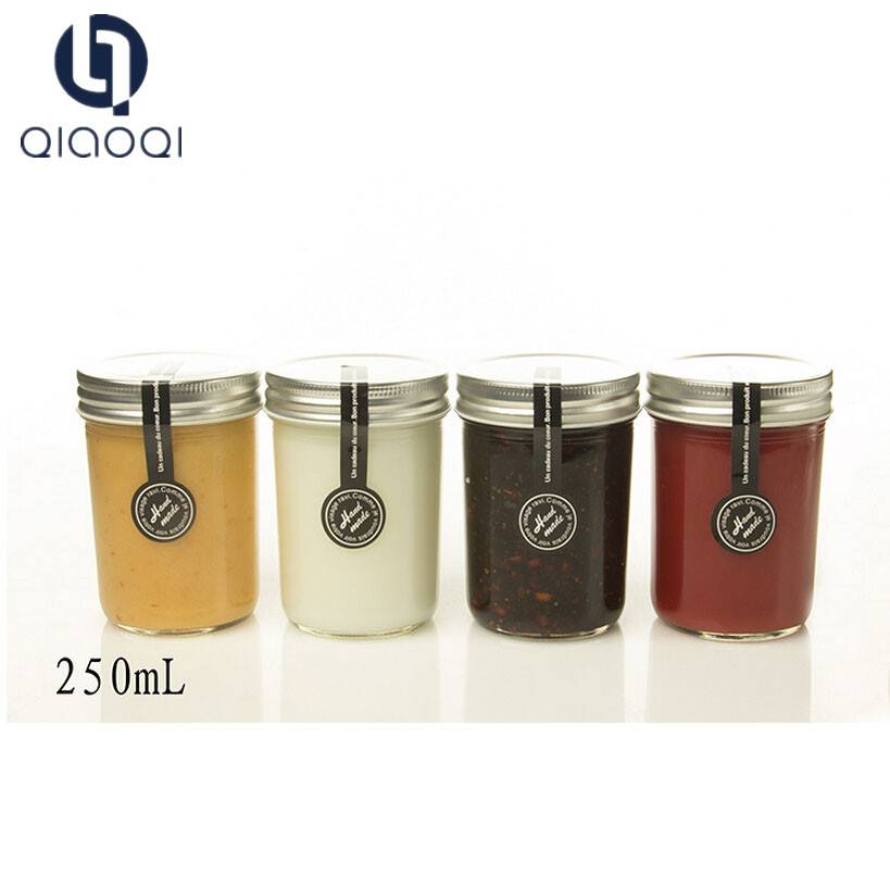 Hot selling glass honey and jam storage jar with lids