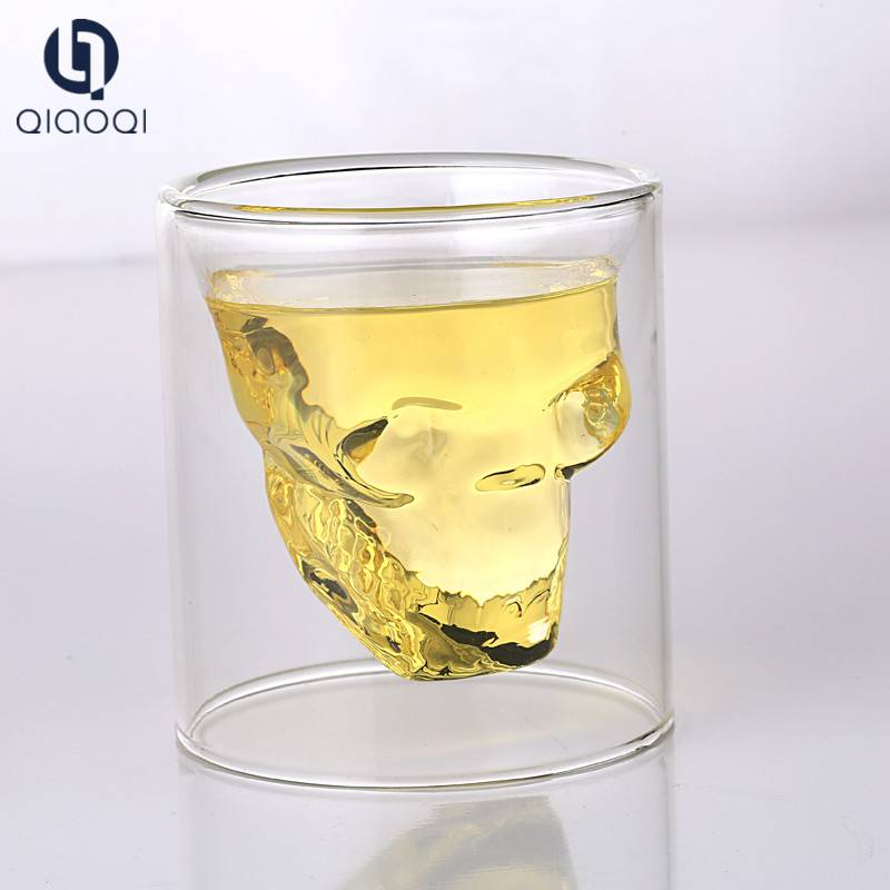 Unique design double wall skull glass tumbler cup