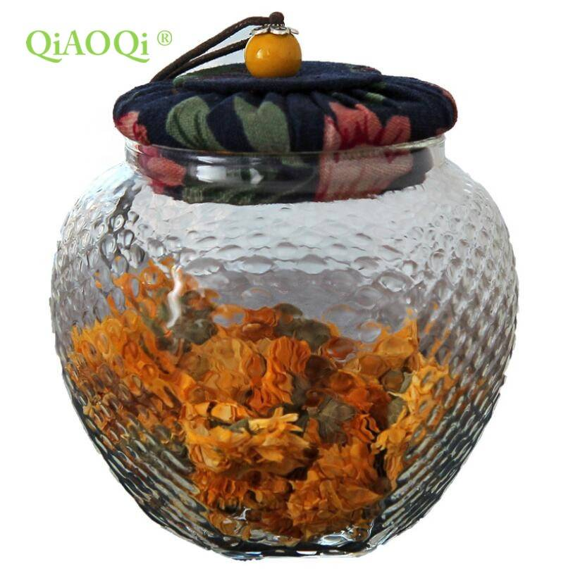 QiAOQi Hexagone glass sealed jar with cork 500ml