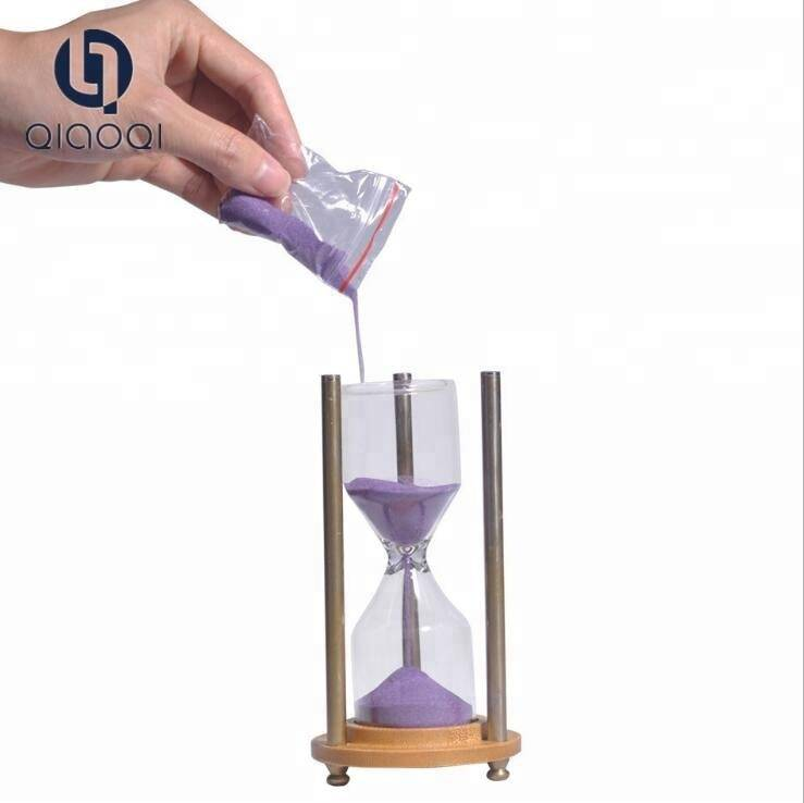 Metal diy hourglass without sand / wood base empty sand timer for game timing