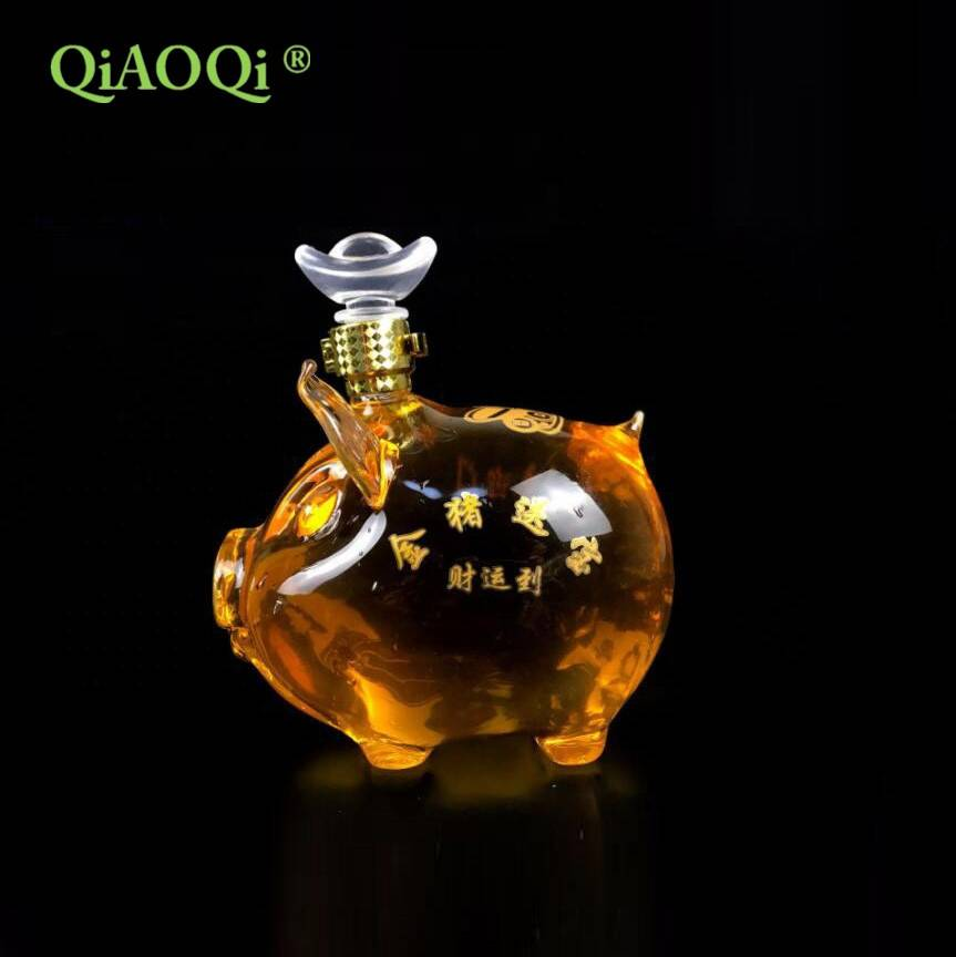 750ml Pig shape glass wine bottle glass decanter