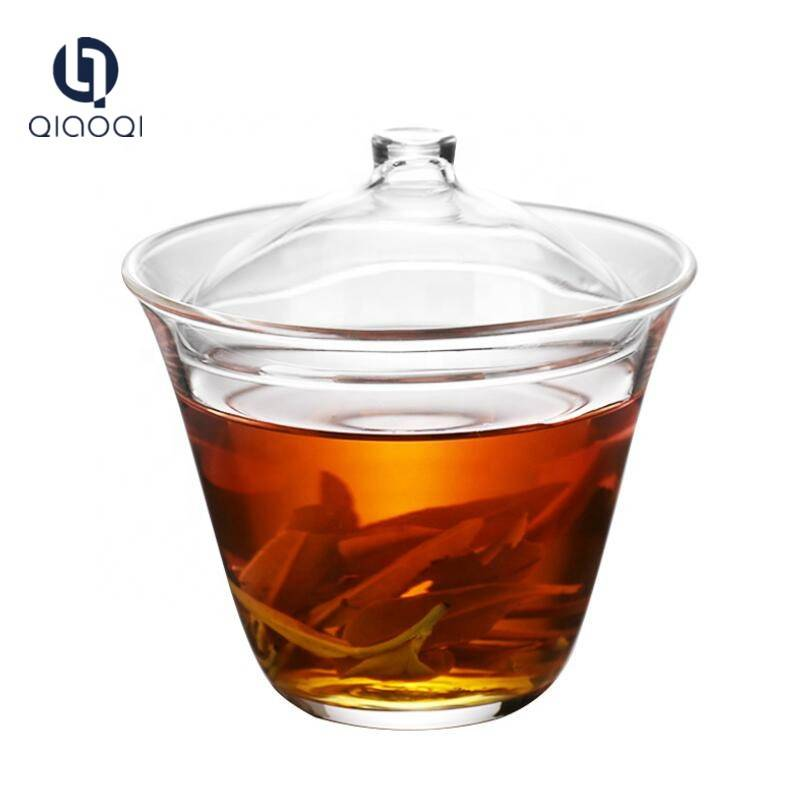 Wholesale borosilicate glass tea cup bowl with saucer and lid for China tea