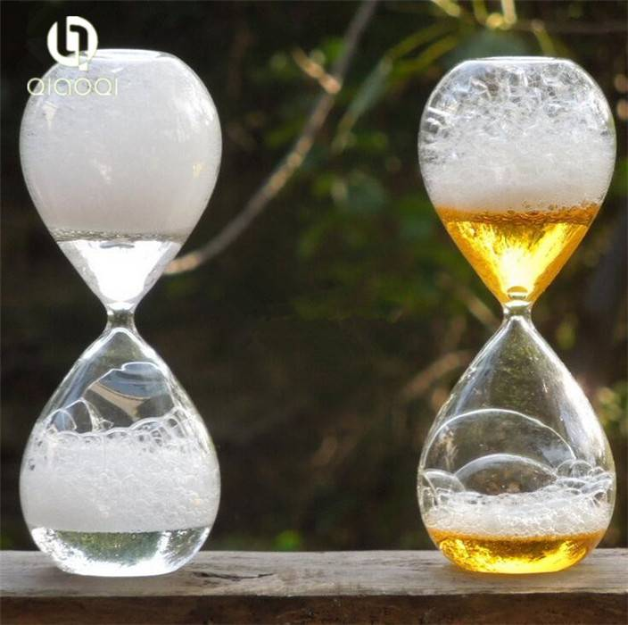 colorful shoot-bubbles Transparent glass hourglass