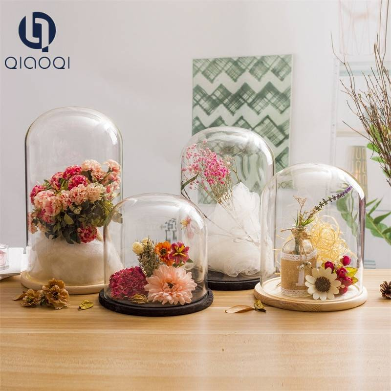 originality DIY glass dome with wood base