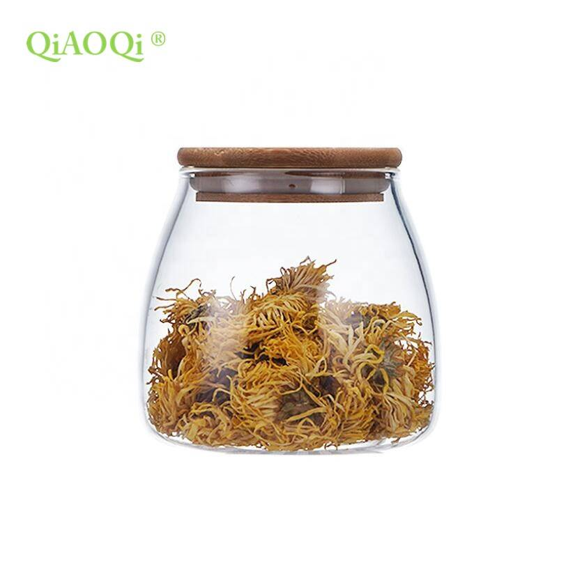 400ml 650ml 850ml Clear Kitchen Food Storage Airtight Seal Lock Lid Jar/glass Jar With Wooden Lid