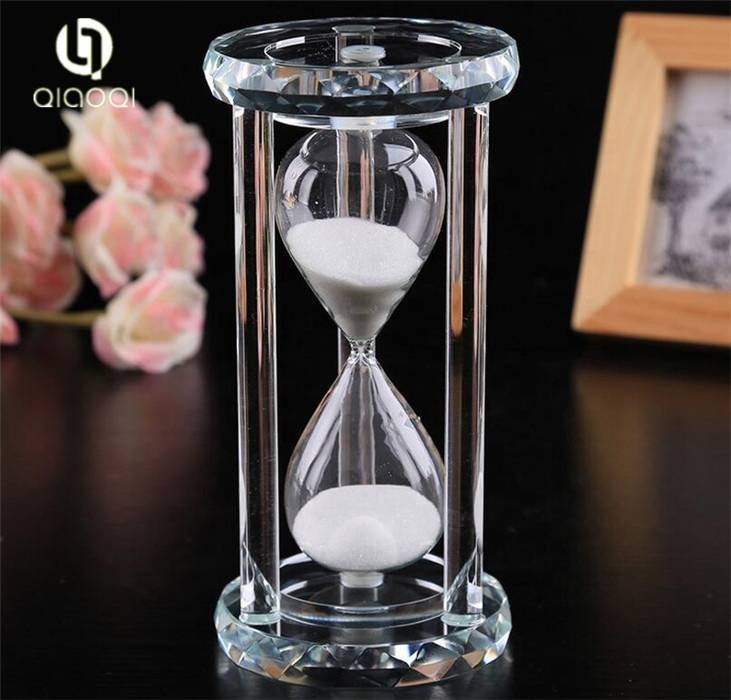 Personalized Handmade Home decor half hour 1 hour office coffee crystal glass hourglass sand timer