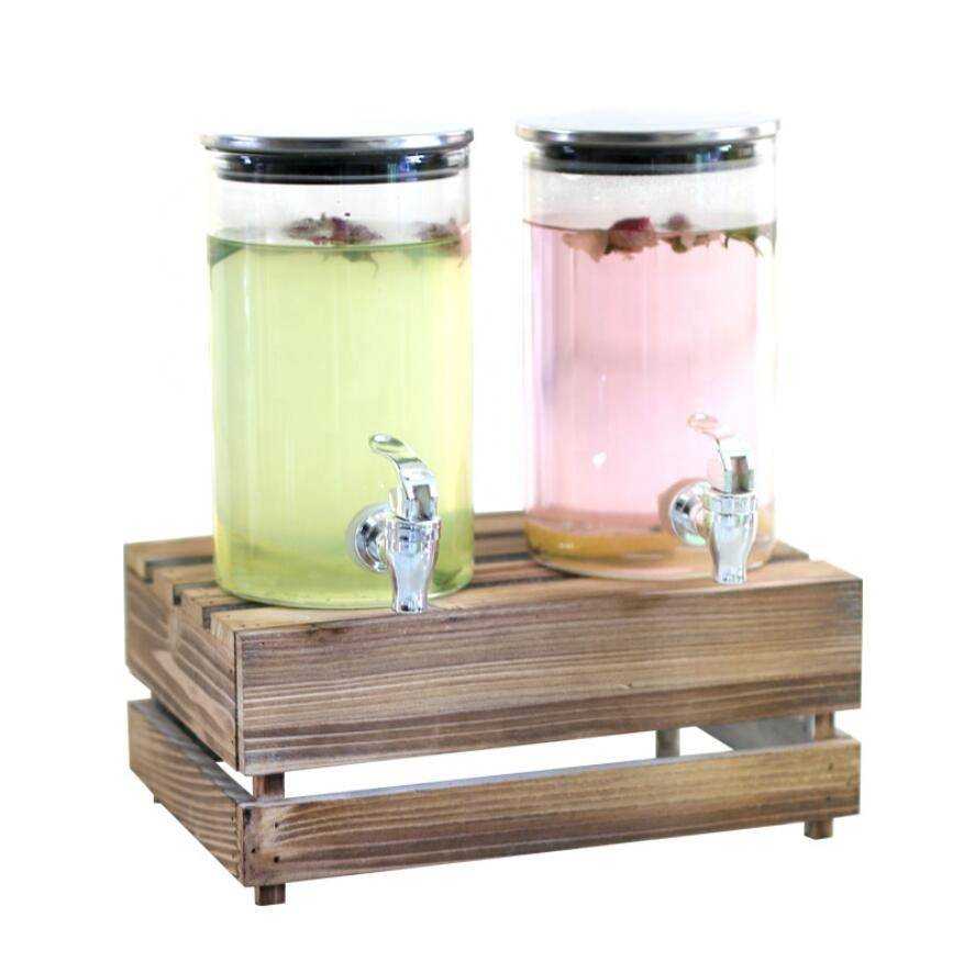 Glass juice jar with faucet shelf beverage barrel Mason bottle enzyme barrel self-brewed wine sealed tank