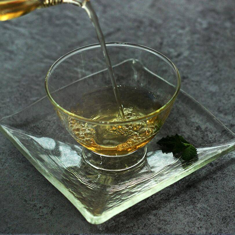 hot sales high borosilicate clear glass tea cup saucer