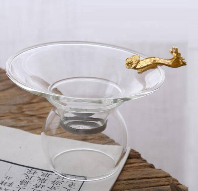 Wholesale high quality glass  clear glass Tea Strainers with stainless steel mesh