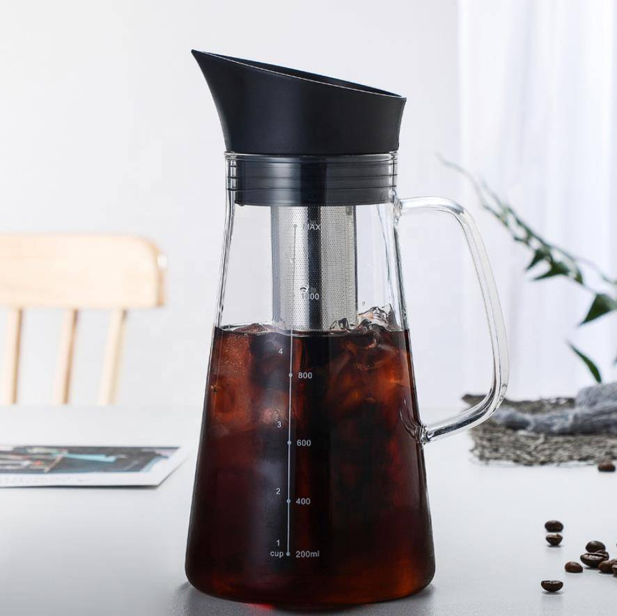 High borosilicate glass heat-resistant coffee pot large capacity glass water bottle 1.0 liter coffee cold brew coffee pot bottle