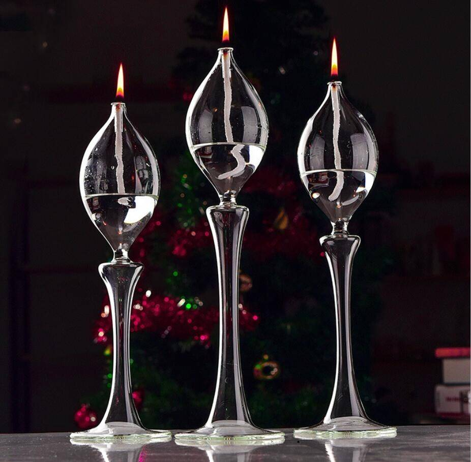 Glass Tall Candle Tea Light Holder Candlestick