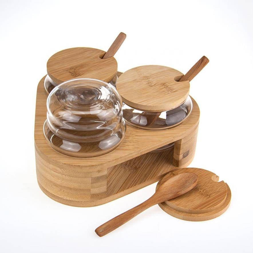 QIAOQI borosilicate glass fancy spice jar set with spoon and lid 260ml stocked
