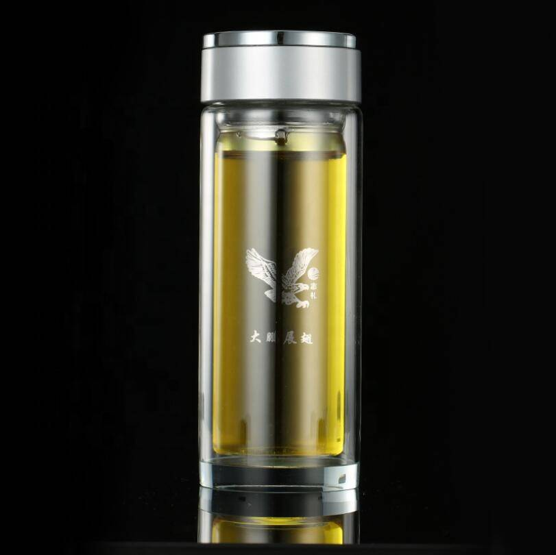 High Quality 300ml Borosilicate Infused Glass Water Bottle