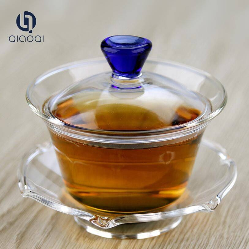 Hot sales  glass tea  cup with  saucer and lid