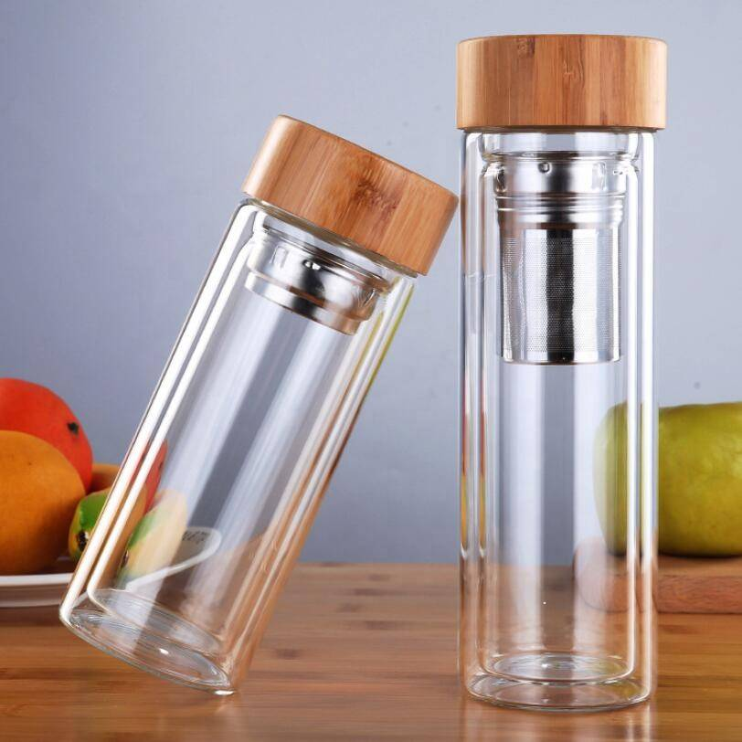 Modern Round Clear Custom Logo Double Wall Borosilicate Glass Drinking Infuser Water Bottle With Bamboo Lid
