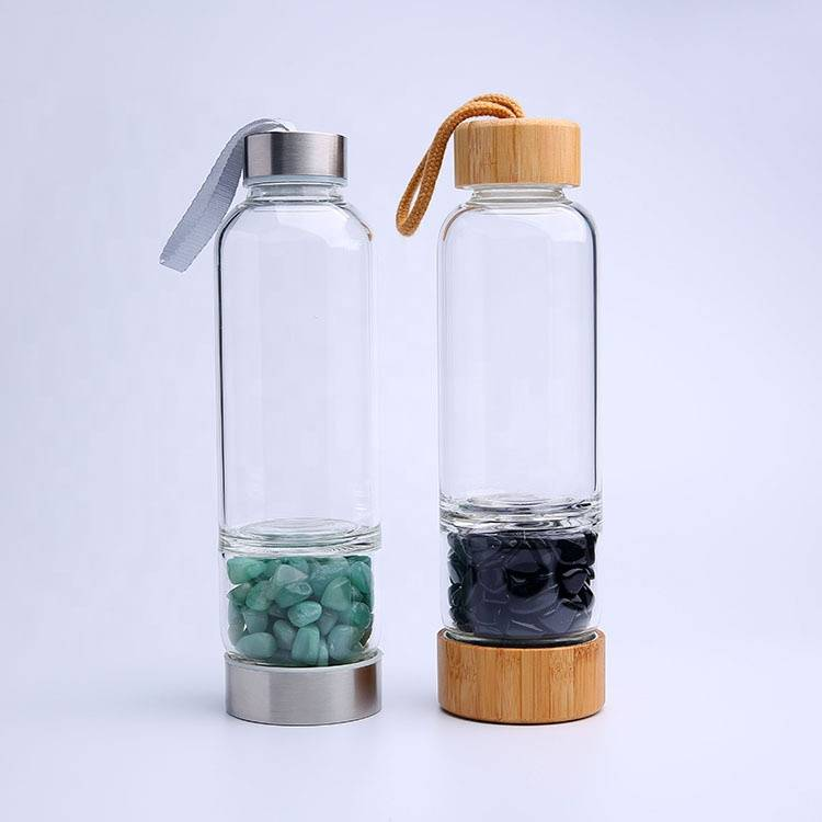 Manufacturer Crystal Water Bottle, Bamboo Water Bottles, Glass Water Bottle with Chip Gemstone