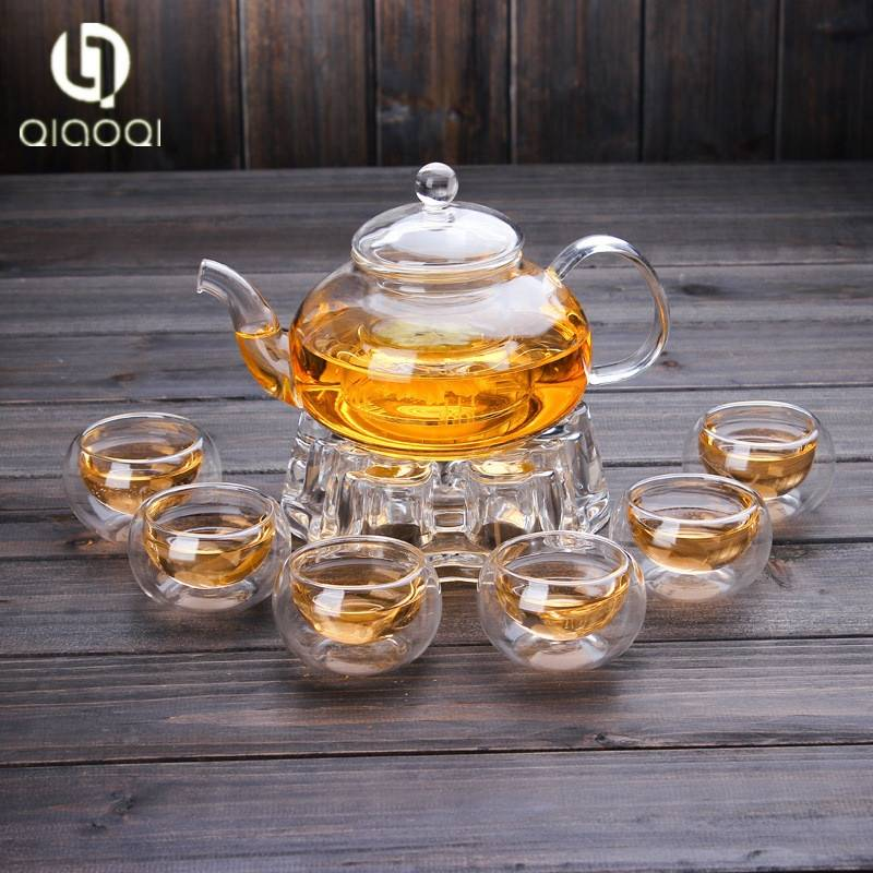 Wholesale Chinese Customized 600ml Cheap Handblow Pyrex Clear Borosilicate Glass Teapot and Warmer Set