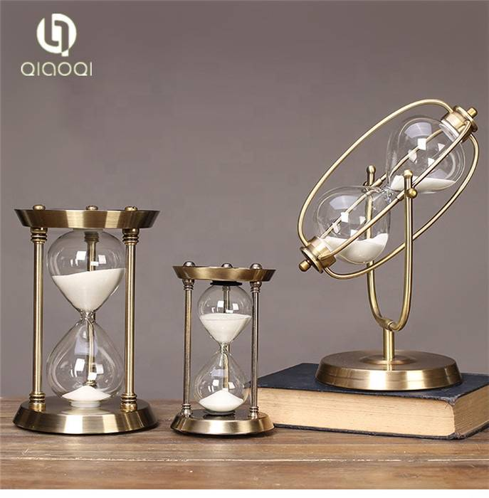 Metal antique  one hour sand timer  custom hourglass