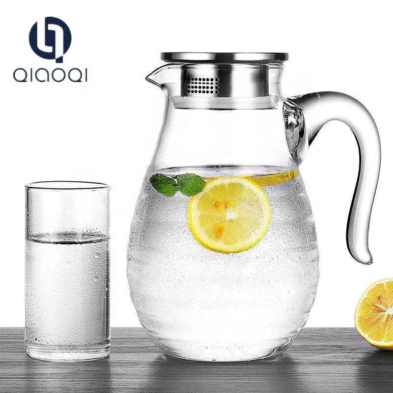 popular 1.8L glass water jug pot with lid handmade glassware