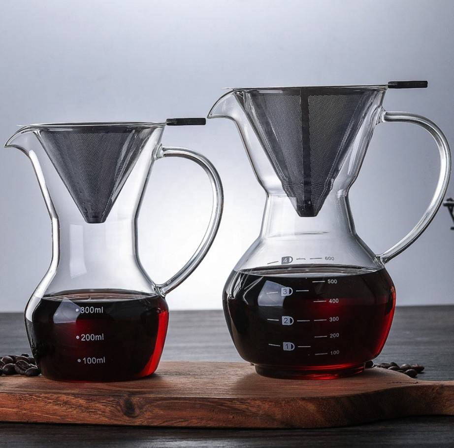600ml high borosilicate pyrex glass coffee pot glass coffee maker with stainless steel filter