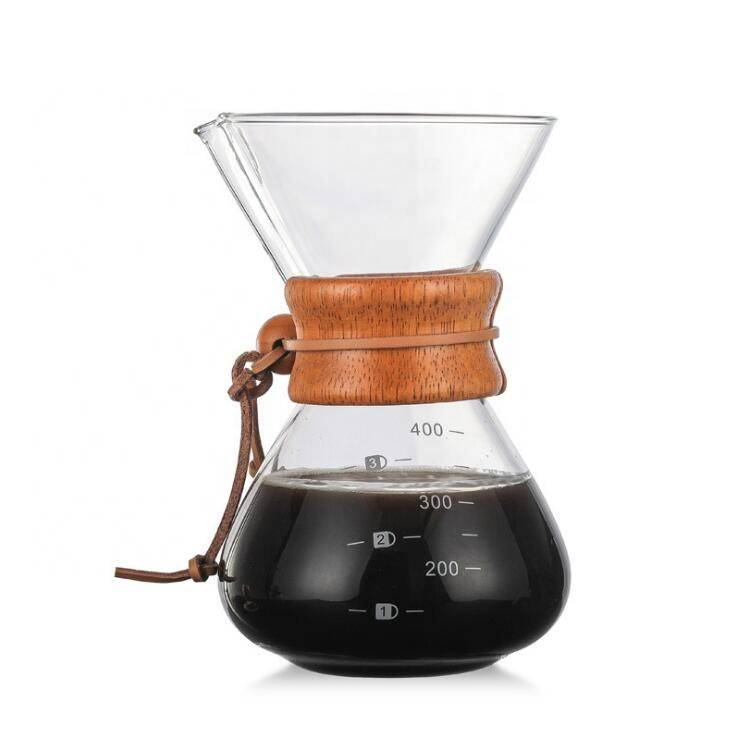 Hot Selling 2020 Borosilicate Glass Coffee Pot Borosilicate Pour Over Coffee Maker With rubber wood Sleeve