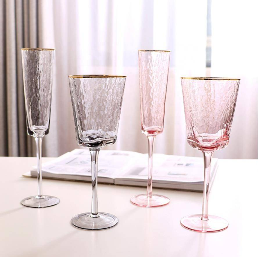Wholesale Good Quality handblown custom transparent triangle goblet wide mouth red wine glasses cup for wedding