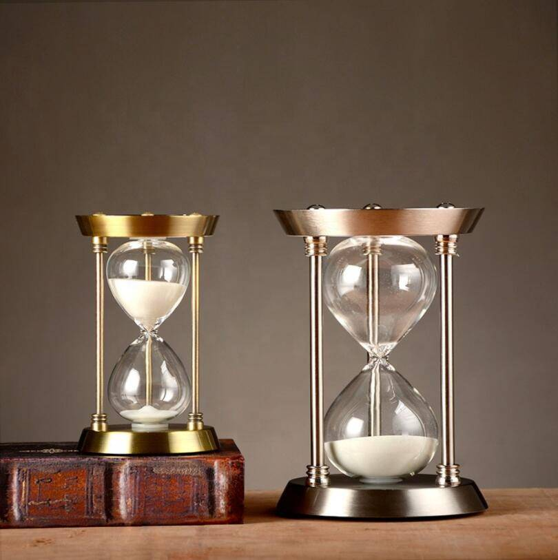 Home decor office large antique 15 60 minutes 1 hour half hour personalized metal frame brass silver hourglass sand timer