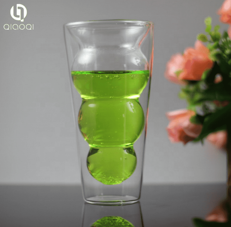 High Borosilicate Handmade Unique Cucurbit Shape 250ml Coffee Tea Beer Glass Double Wall Cup