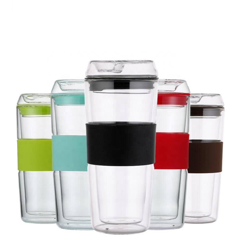 Custom Transparent Sleeve Travel Reusable Keep Glass Coffee Cup with Silicone Lid Featured Image