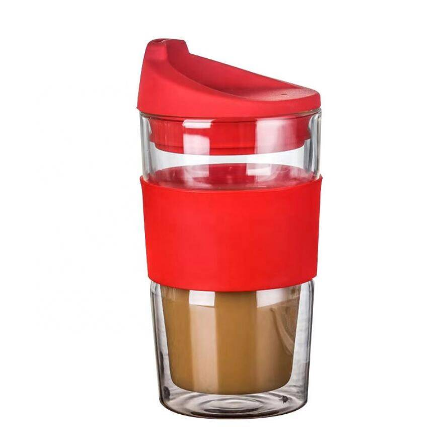 Custom Small Handblown Heat Resistant Double Wall Glass Coffee Cup With Silicone Lid