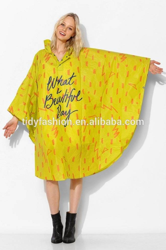 Full Printing Logo Printed PVC Reasable Rain Poncho