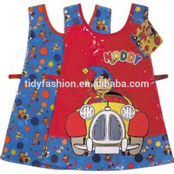 Cute Waterproof Painting Cooking Children Plastic Coated Apron