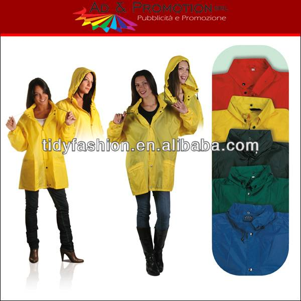Yellow Plastic Rainwear rain Jacket for Women