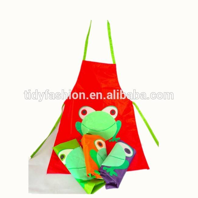 Plastic Custom Printed Frog Pattern Kids Children Promotional Kitchen Apron