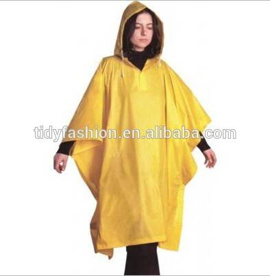 Long Recycled PVC Rain Poncho In Sleeve