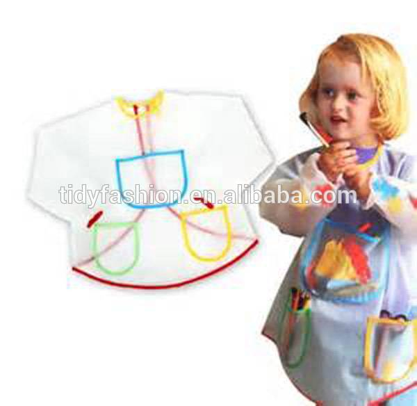 Easy Clean Cute Plastic Waterproof Children Painting Apron With Sleeves